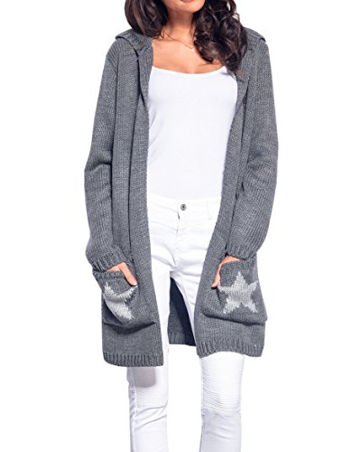 Yacooh Women Chunky Knitted Cardigan Sweater Open Front Hooded Outerwear with Pockets Dark Grey