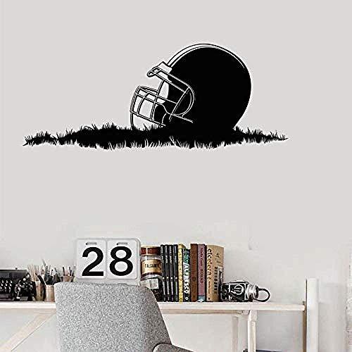 Wandaufkleber American Football Helm Gras Super Bowl Cup Garantie Wandaufkleber Vinyl Wohnkultur Kinderzimmer Junge Schlafzimmer Aufkleber 57X23Cm