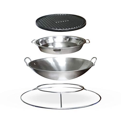 Meateor Zubehör-Set für Ambiente Feuertisch, Grill-Zubehör bestehend aus Gourmetpfanne/Paella Pfanne, Plancha Platte/Grillplatte, Wok und Aufsatzring, robust & pflegeleicht