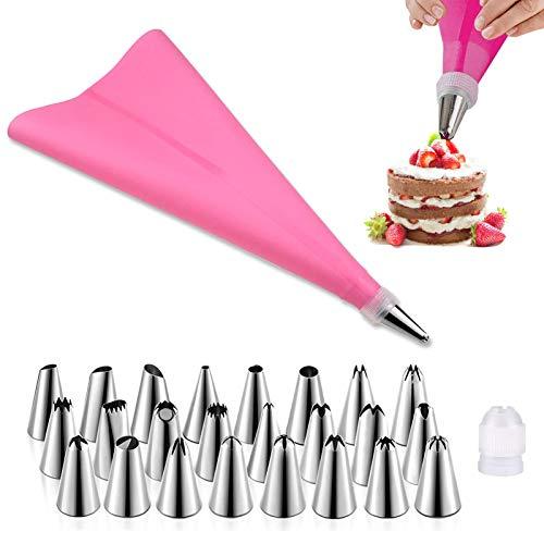 Spritztüllen,26 Stücke Teiliges Spritztüllen Set, Silikon Spritzbeutel, Kuchen Spritztüllen Backgeschirr,für Kuchen Backen und Dekorieren (Rosa)