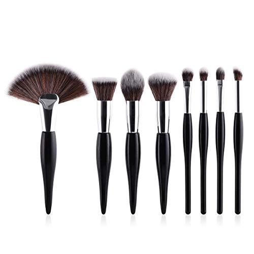Lot de 8 pinceaux de maquillage avec manche noir argenté