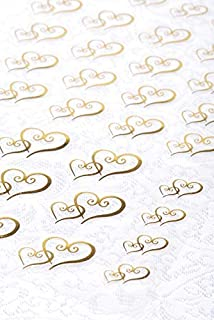 Clear Stickers 53/Pkg-Gold Double Heart