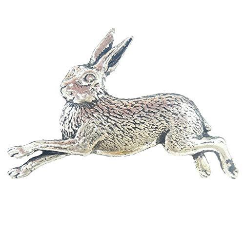 Rennender Hase - Abzeichen Handgefertigt aus Massivem Zinn in Großbritannien
