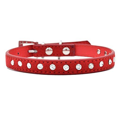 Generisches Hundehalsband Halsbänder aus Kuh-Veloursleder Echtleder mit Strass, Bling Design, 1.5/2.0cm Breit, 15-40cm Verstellbar, für kleine mittlere Hunde wie Chihuahua und Welpen, Rot XS