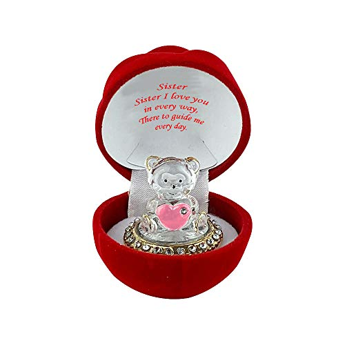 Crystal Glass Teddy Bear Enclosed in a Rose Box, with an Ornamental Red Heart | A for your Loved Ones for Valentines Day, Christmas, and other Special Occasions (Sister)