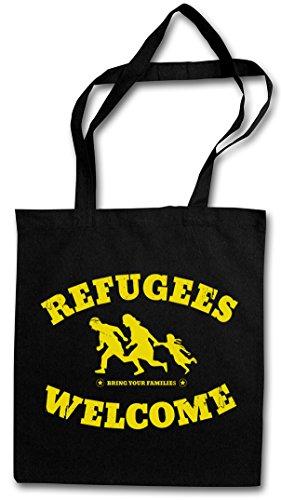 Refugees Welcome Hipster Bag - Demo Pro Willkommen Flüchtlinge Links Asyl Die PDS Politik Linke Einkaufstasche Jutebeutel