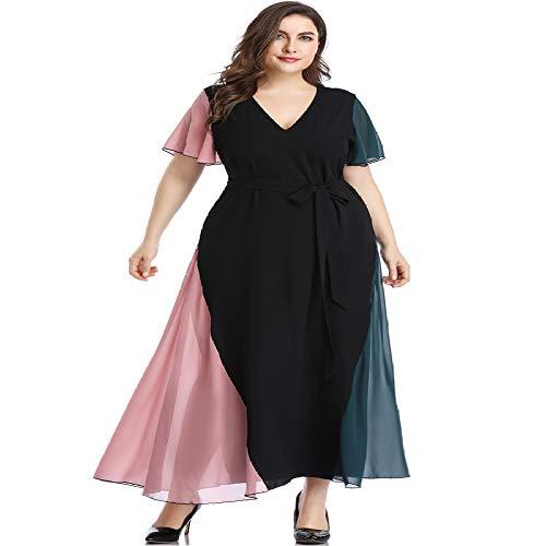 HOSD Vestido de Mujer Color de Contraste con Costuras Plus...