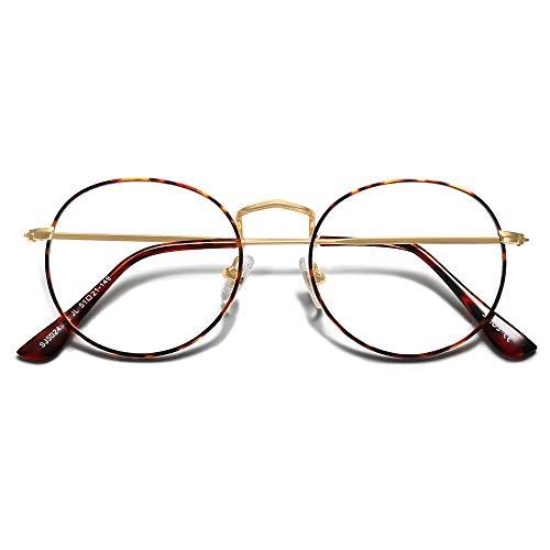 SOJOS Blaulichtfilter Brille Damen Herren Computerbrille Vintage-orientiertes Rund Design SJ5024 mit Leopard Rahmen/Anti Blaulicht Linse