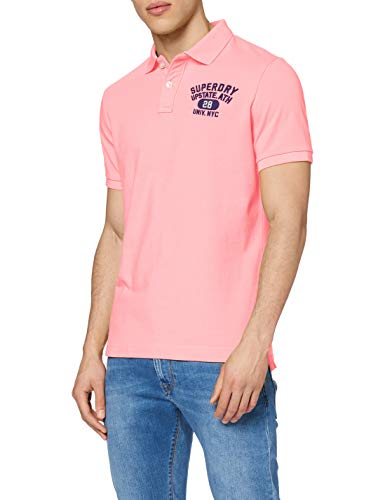 Superdry Herren Classic SUPERSTATE S/S Polo Poloshirt, Rosa (Bright Blast Pink ZH9), X-Large