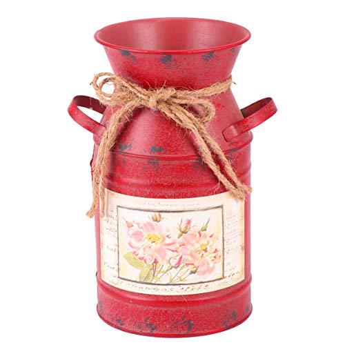 EXCEART Jarrón de Jarra Decorativo Vintage Jarrón de Metal Galvanizado para Flores Secas Artificiales Decoración de Casa de Campo Rústica (Rojo)