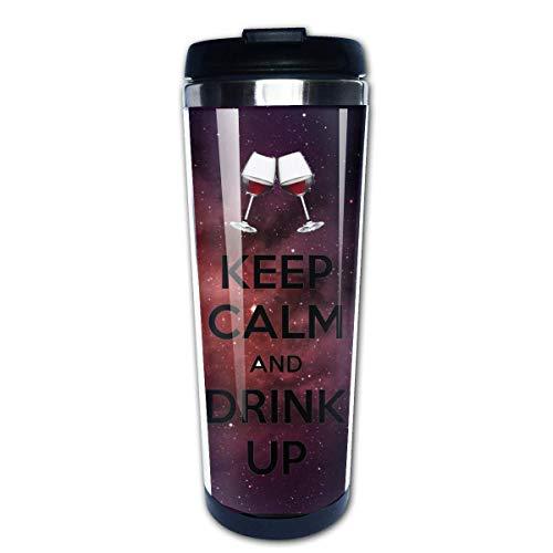 MKLQ Mantenga la calma y beba la taza y la botella Botella - Frasco de doble pared Vacío Taza térmica de acero inoxidable con tapa deslizante a prueba de salpicaduras -15 oz