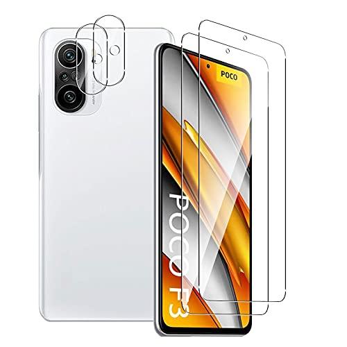 Aerku Panzerglas Schutzfolie für Xiaomi Poco F3 / Xiaomi Mi 11i 5G + Kamera Schutz [2 + 2 Stück], 9H HD Folie Anti-Kratzer Ultra Panzergalsfolie Glatte Film Bildschirmschutzfolie - Transparent