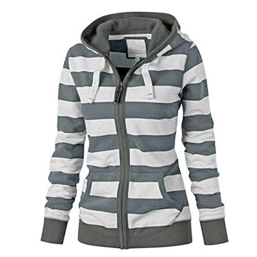 Women's Hooded Coat, Ladies Long Sleeve Zipper Slim Striped Jackets Casual Spring Hoodie Sweatshirt Tops Outwear Jumper Sweaters S-4XL (2XL, Gray)