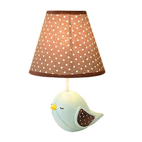 Yuxahiugtd Lámpara de mesa, creativo simple, pájaro, luces de noche de luz de mesa, lámpara de escritorio de tela, arte americano, protección for los ojos, lámpara de mesa encantadora, bajo consumo de