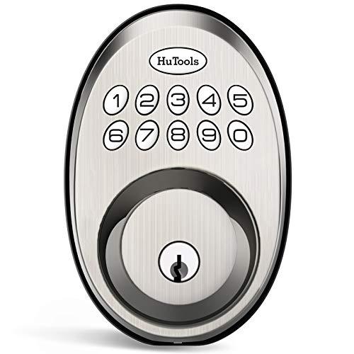 Keyless Entry Door Lock, Hutools Electric Keypad Deadbolt Lock with 20 User Codes, Auto and 1 Button Locking with Illuminated Keypad, Satin Nickel