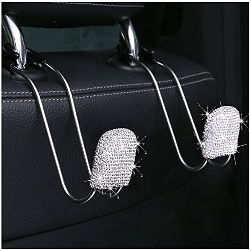 Car Back Seat Headrest Hooks 2PCS Bling Crystal rhinestone Auto Hanger for SUV Truck Vehicle Seat Organizer Accessory for Purse Groceries Coats Umbrellas Grocery Bags Handbag