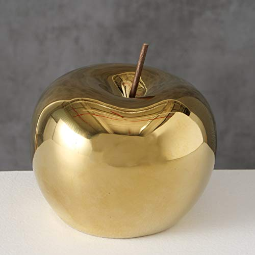 Boltze - Mela decorativa Nesta, altezza 11 cm, in porcellana dorata