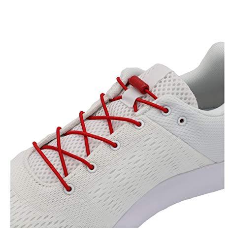 EazyShoelaces Elastische Schnürsenkel | Die runden stylischen Schnürsenkel mit Metal Lock-System | Nie mehr Schuhe binden (Rot)