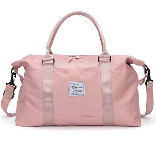 Damen Sporttasche Frauen Reisetasche modisch wasserdicht für Damen und Herren Yoga Pilates Strand Freizeit Sauna Gym-Tasche Shopping-Bag Weekender Urlaub Pink