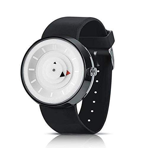 Reloj de Cuarzo Unisex para Hombre para Mujer, Reloj análogo de Moda único y análogo con Estuche de dial Redondo, Banda de Silicona cómoda