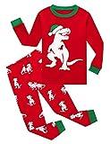 Family Feeling Little Boys Girls Long Sleeve Christmas Pajamas Sets 100% Cotton Glow in the Dark Pyjamas Kids Pjs Size 5 Dinosaur Red