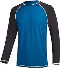 Satankud Men's Swim Shirts Rashguard Sun Shirt UPF 50+ UV Sun Protection Outdoor Long Sleeve T-Shirt Swimwear Peacock Blue+Charcoal Gray XL