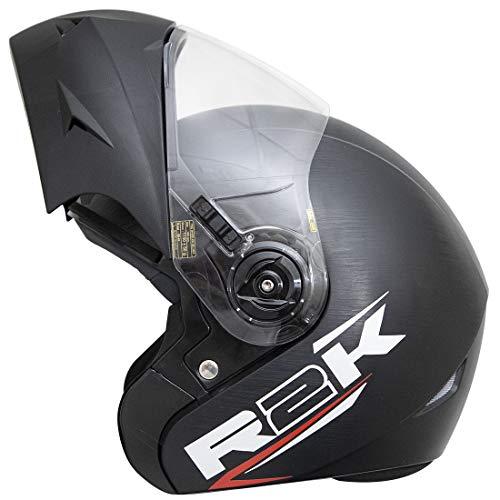 Steelbird R2K ABS Oska Reflective Flip-Up Helmet, ISI Certified Helmet (Large 600 Mm, Dashing Black with Clear Visor)