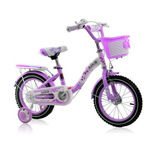 Bicicletas Infantiles Student Bicycle Mountain Bike Variable Speed Bicycle Girl Pedal Stroller Front and Seat Free Lift Best Gift (Color : Purple, Size : 12inch(90cm30cm58cm))