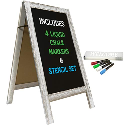 "Large Sturdy Handcrafted 40"" x 20"" Wooden A-Frame Chalkboard Display / 4 Liquid Chalk Markers & Stencil Set/Sidewalk Chalkboard Sign Sandwich Board/Chalk Board Standing Sign (6 - White)"