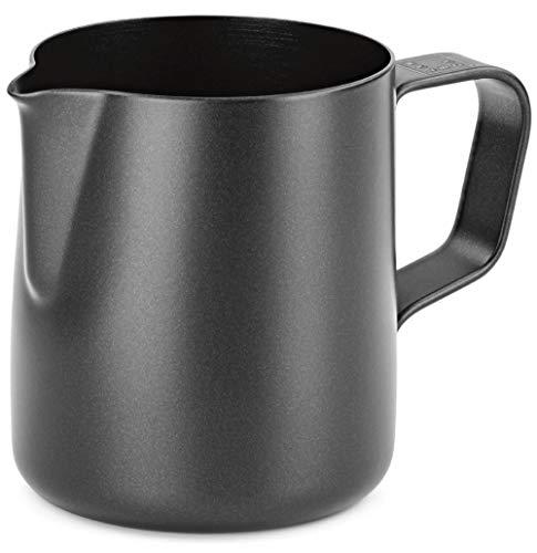 Lambda Coffee® Espressokännchen 150ml Edelstahl für Barista Zubehör | Milchkännchen klein Milk jug Pitcher schwarz Teflon beschichtet | Milchkanne Latte Art 150 ml | Espresso Kännchen Barista Set