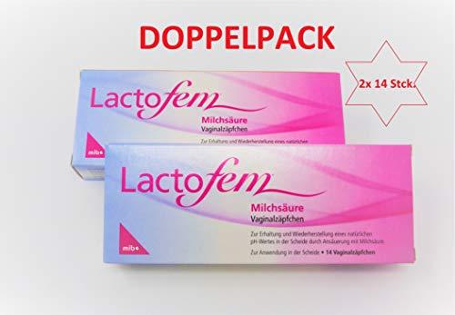 Lactofem Milchsäure Vaginalzäpfchen 2x14 Stk. - Original-Doppelpack von Primeservice24
