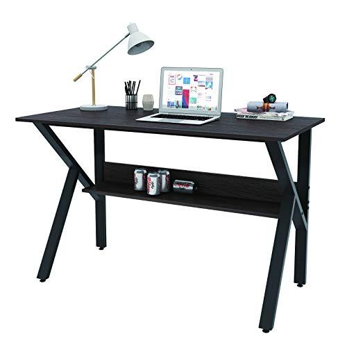 XINDACLOVER K Shaped Computer Gaming Desks, Gamer Table with Storage Shelves, Student PC Laptop Study Writing Desk, Modern Bedroom Home Office Desk (Black Oak)