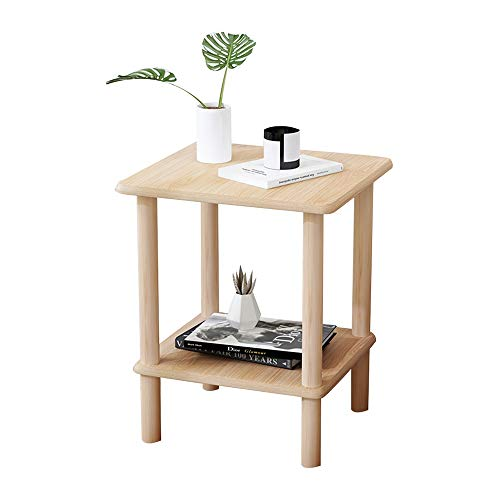 Tavolini HAIYU Nordico in Legno caffè da Salotto con Ripiani A 2 Strati, Angolare Multifunzionale Divano per Piccoli Spazi, 2 Dimensioni