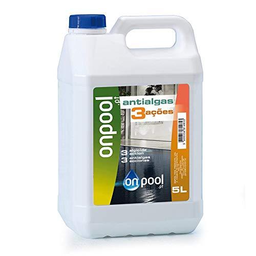 Onpool - Antialgas/Algicida Tres Acciones líquido 5 L para Piscina o SPA - Ataca microorganismos, facilita el Trabajo del Sistema de filtración y Deja el Agua Azul y centelleante