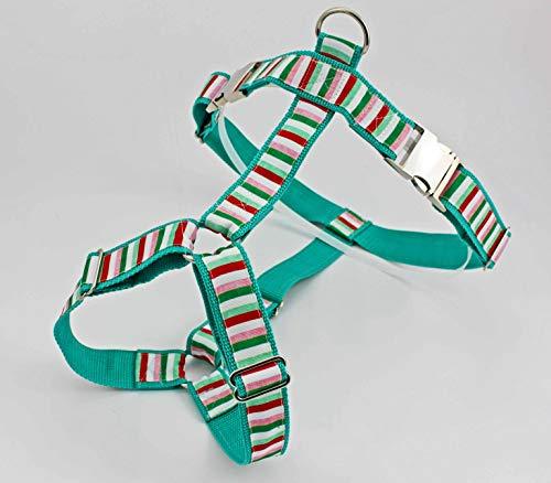 Hundegeschirr mit Streifen, rosa, grün und weiß, gestreift, für Hunde, modern, Hundezubehör, Welpe, Weihnachtszeit, türkis