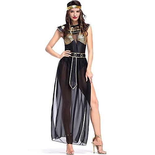 Fancy Dress-Carnival Party Halloween Egipcio Cleopatra Traje Mujeres Adulto Egipto Reina Cosplay Trajes Sexy Golden (Color : A, Size : M)