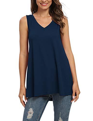 AUSELILY Damska koszulka z długim rękawem i dekoltem w kształcie litery V, tunika topy bluzka.