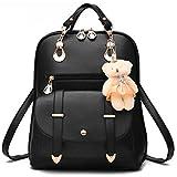 Desconocido Bolso de hombro de la escuela de cuero sintético de la manera de la muchacha de las mujeres Mochila del viaje de la mochila (Negro)