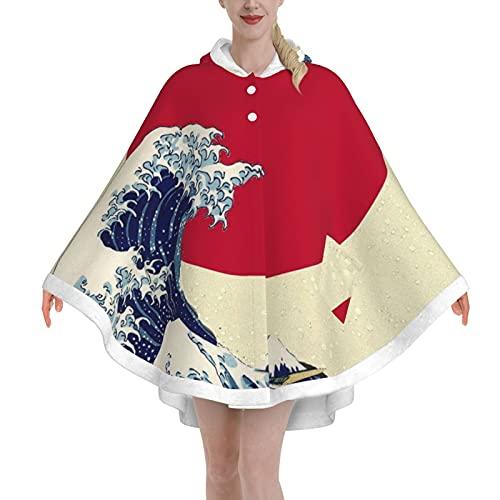 Poncho Blanket,Wearable Blanket Adult,Oversized Hoodie Blanket For Women & Men(Red Sun Waves Blanketshoodie)