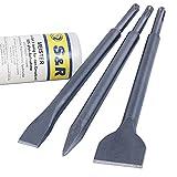 S&R Scalpelli SDS-plus Set di 3 pz per Piastrelle Pavimento Muro (Scalpello Largo Diritto)...