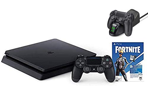 2020 Playstation 4 PS4 1TB Slim Gaming Console Bundle Marvel's Avengers: Earth's Mightiest Edition w/Ghost Manta Fast Charging Station Dock (PS4 Fortine)