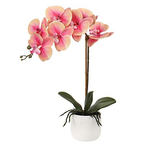 Briful Flor artificial de orquídea falsa planta de seda Phalaenopsis arreglo de flores falsas de plástico en maceta de cerámica blanca para decoración de hogar oficina boda