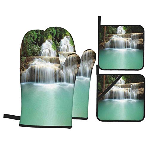Oven Mitts and Pot Holders Sets of 4,Falling Stream Waterfall Natural Pond Thailand Vacation Theme,Polyester BBQ Gloves with Quilted Liner Resistant Hot Pads for Kitchen Cooking Baking Grilling
