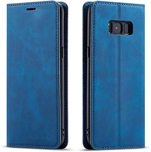 QLTYPRI Hülle für Samsung Galaxy S7, Premium Dünne Ledertasche Handyhülle mit Kartenfach Ständer Flip Schutzhülle Kompatibel mit Samsung Galaxy S7 - Blau