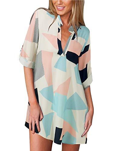 ZANZEA Dames Geometrisch patroon V-hals Zomer Casual Lange Mouwen Losse Overhemd Shirt Tops Dunne Jas Met Sexy Shirt Rok Overhemdjurk Geometrisch patroon-1 40