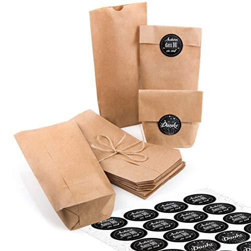 24 kleine braune Papiertüten natur Kraftpapier 10,7 x 22 x 4,2 cm + 24 runde SCHÖN DASS DU DA BIST + DANKE schwarz weiß Verpackung mini-Tüte Geschenk