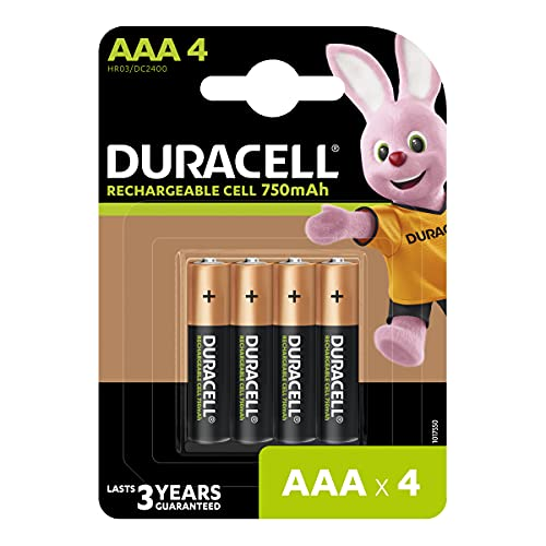 Duracell Rechargeable AAA 750mAh Batteries, Pack of 4