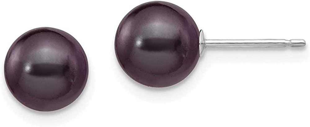 14k White Gold Black Round Cultured Pearl Stud Earrings (L-7 mm, W-8 mm)