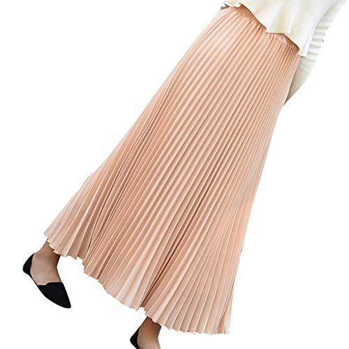 Brizz Lange rok voor dames, vintage A-lijnen, full-colour hoge taille swing rok nonchalant plooirok