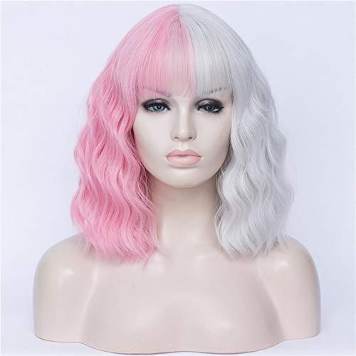 Pelucas Pelucas de colores para las mujeres cosplay peluca de dos colores costuras cortas de agua rizada onda de agua sintética con flequillo Peluca mujer ( Color : 10 , Stretched Length : 12inches )